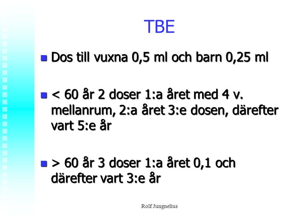 Rolf Jungnelius TBE Dos till vuxna 0,5 ml och barn 0,25 ml Dos till vuxna 0,5 ml och barn 0,25 ml < 60 år 2 doser 1:a året med 4 v. mellanrum, 2:a åre