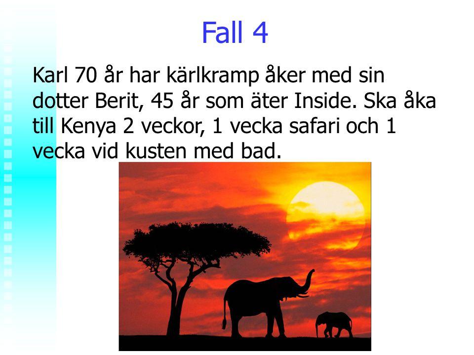 Rolf Jungnelius Fall 4 Karl 70 år har kärlkramp åker med sin dotter Berit, 45 år som äter Inside. Ska åka till Kenya 2 veckor, 1 vecka safari och 1 ve