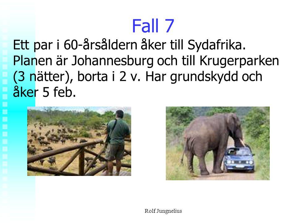 Rolf Jungnelius Fall 7 Ett par i 60-årsåldern åker till Sydafrika. Planen är Johannesburg och till Krugerparken (3 nätter), borta i 2 v. Har grundskyd