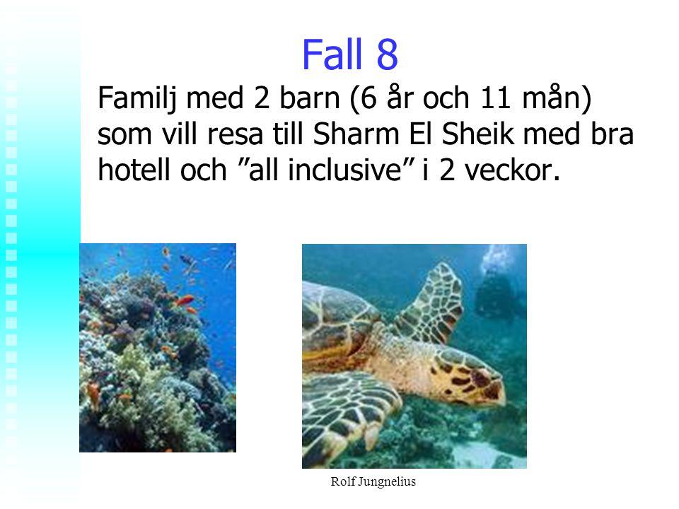"""Rolf Jungnelius Fall 8 Familj med 2 barn (6 år och 11 mån) som vill resa till Sharm El Sheik med bra hotell och """"all inclusive"""" i 2 veckor."""