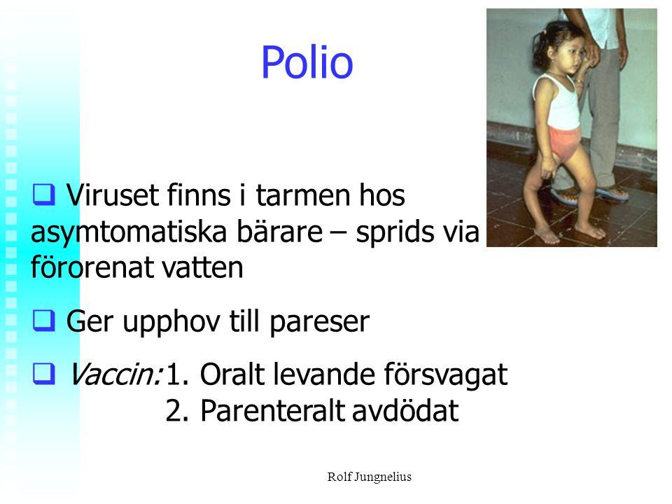 Rolf Jungnelius Polio  Viruset finns i tarmen hos asymtomatiska bärare – sprids via förorenat vatten  Ger upphov till pareser  Vaccin:1. Oralt leva