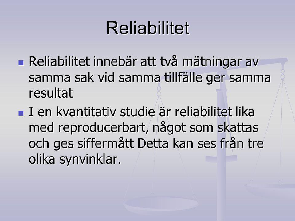Reliabilitet Reliabilitet innebär att två mätningar av samma sak vid samma tillfälle ger samma resultat Reliabilitet innebär att två mätningar av samma sak vid samma tillfälle ger samma resultat I en kvantitativ studie är reliabilitet lika med reproducerbart, något som skattas och ges siffermått Detta kan ses från tre olika synvinklar.