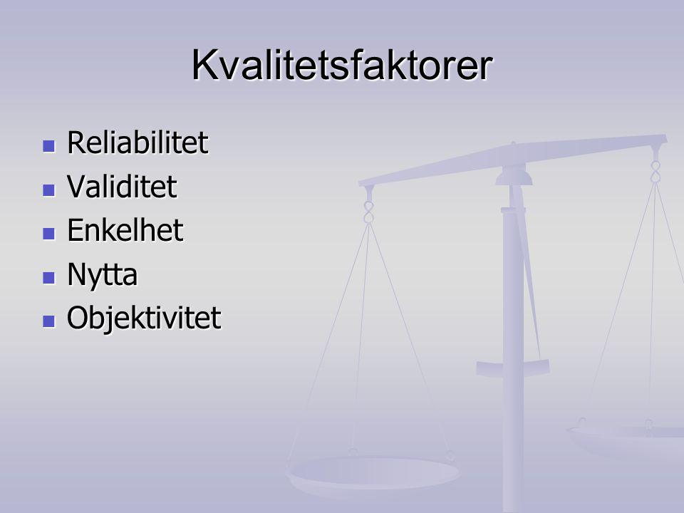 Kvalitetsfaktorer Reliabilitet Reliabilitet Validitet Validitet Enkelhet Enkelhet Nytta Nytta Objektivitet Objektivitet