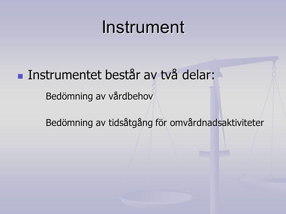 Instrument Instrumentet består av två delar: Instrumentet består av två delar: Bedömning av vårdbehov Bedömning av tidsåtgång för omvårdnadsaktiviteter