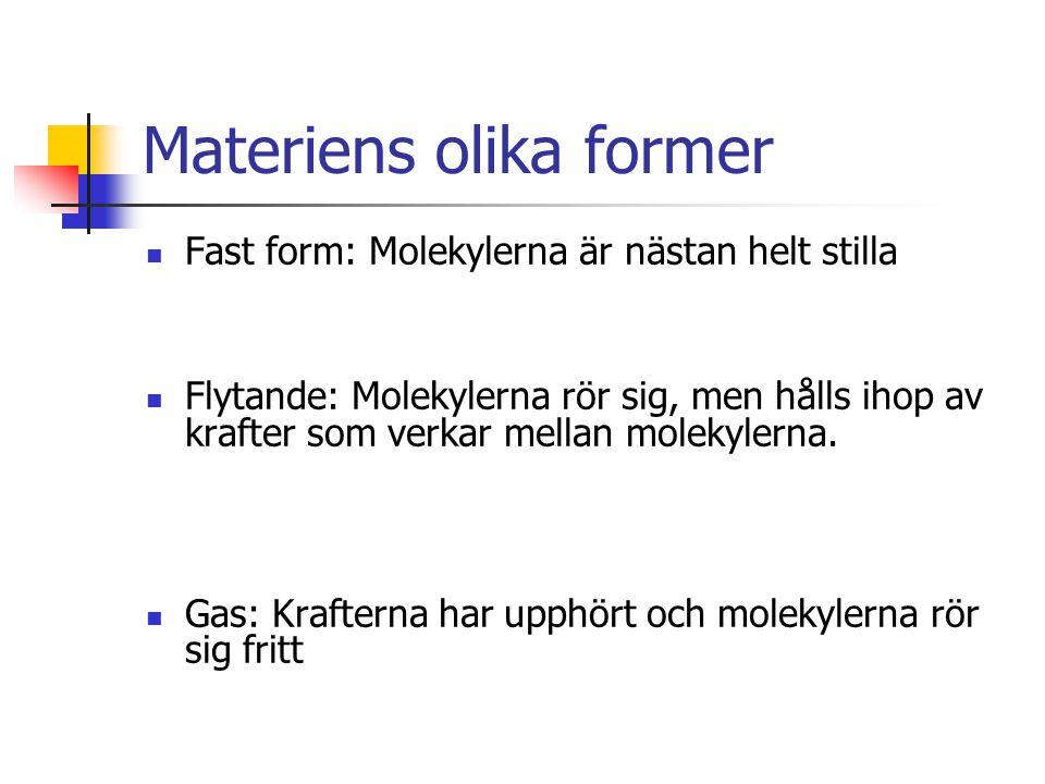 Materiens olika former Fast form: Molekylerna är nästan helt stilla Flytande: Molekylerna rör sig, men hålls ihop av krafter som verkar mellan molekyl