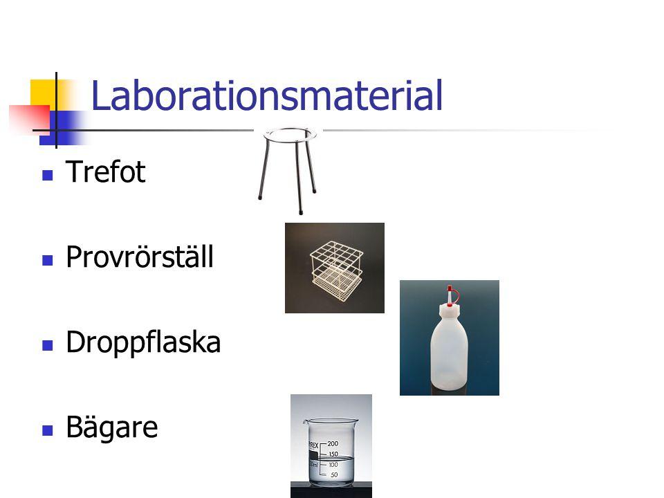 Laborationsmaterial Trefot Provrörställ Droppflaska Bägare