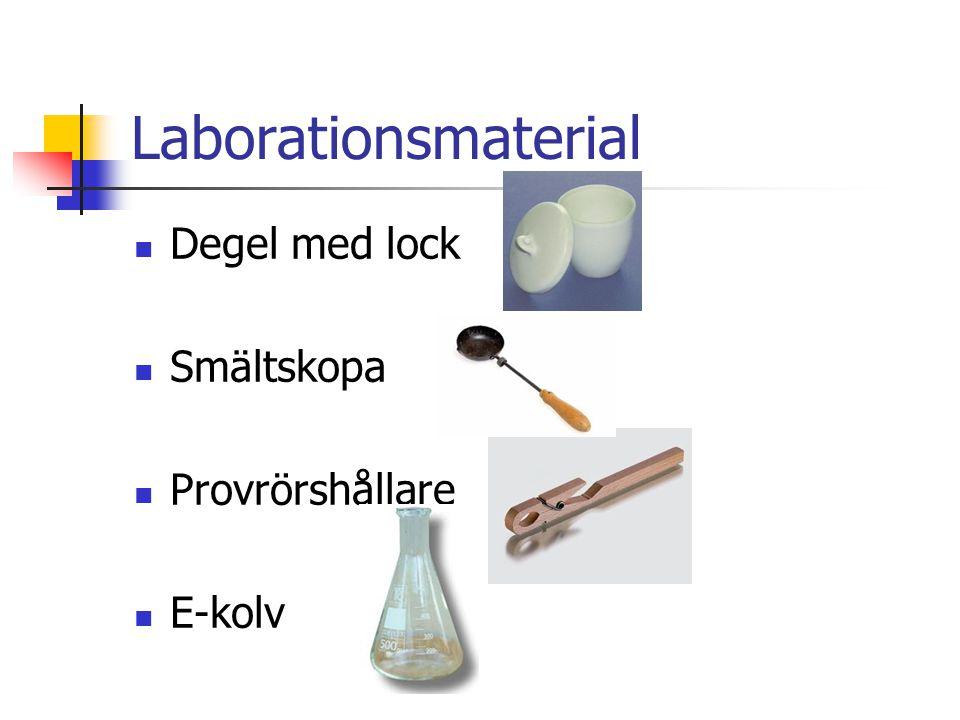 Laborationsmaterial Degel med lock Smältskopa Provrörshållare E-kolv