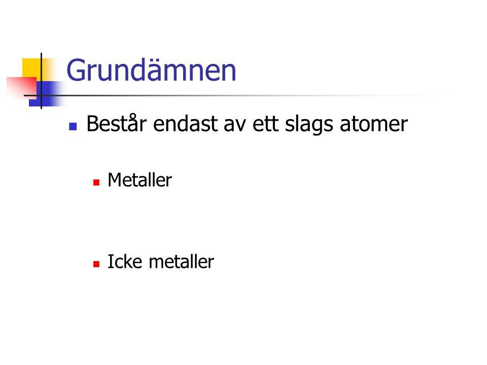 Grundämnen Består endast av ett slags atomer Metaller Icke metaller