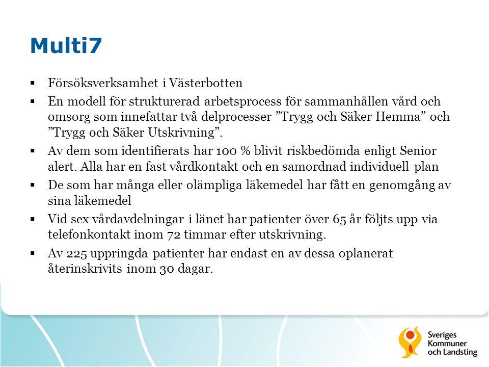 Multi7  Försöksverksamhet i Västerbotten  En modell för strukturerad arbetsprocess för sammanhållen vård och omsorg som innefattar två delprocesser Trygg och Säker Hemma och Trygg och Säker Utskrivning .