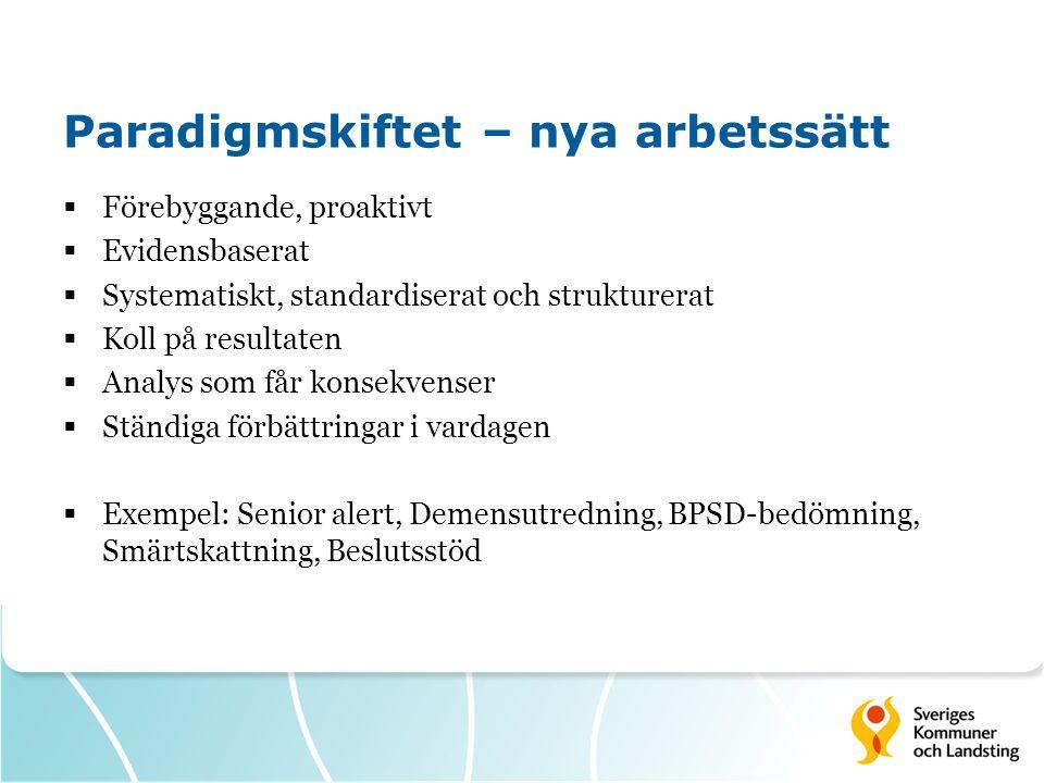 Paradigmskiftet – nya arbetssätt  Förebyggande, proaktivt  Evidensbaserat  Systematiskt, standardiserat och strukturerat  Koll på resultaten  Analys som får konsekvenser  Ständiga förbättringar i vardagen  Exempel: Senior alert, Demensutredning, BPSD-bedömning, Smärtskattning, Beslutsstöd