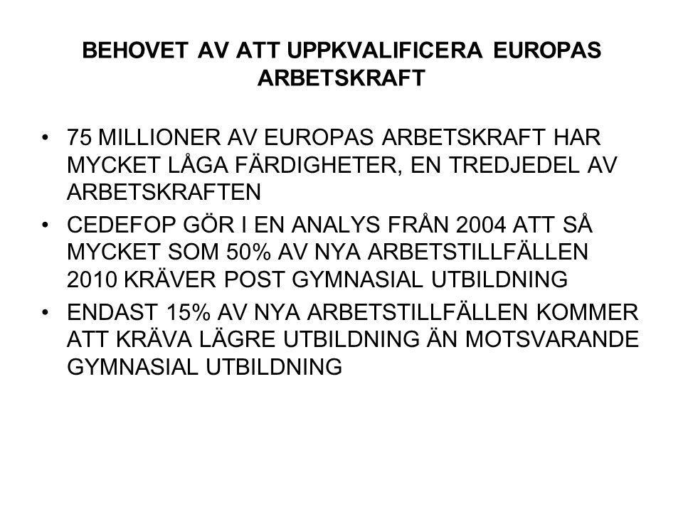BEHOVET AV ATT UPPKVALIFICERA EUROPAS ARBETSKRAFT 75 MILLIONER AV EUROPAS ARBETSKRAFT HAR MYCKET LÅGA FÄRDIGHETER, EN TREDJEDEL AV ARBETSKRAFTEN CEDEFOP GÖR I EN ANALYS FRÅN 2004 ATT SÅ MYCKET SOM 50% AV NYA ARBETSTILLFÄLLEN 2010 KRÄVER POST GYMNASIAL UTBILDNING ENDAST 15% AV NYA ARBETSTILLFÄLLEN KOMMER ATT KRÄVA LÄGRE UTBILDNING ÄN MOTSVARANDE GYMNASIAL UTBILDNING