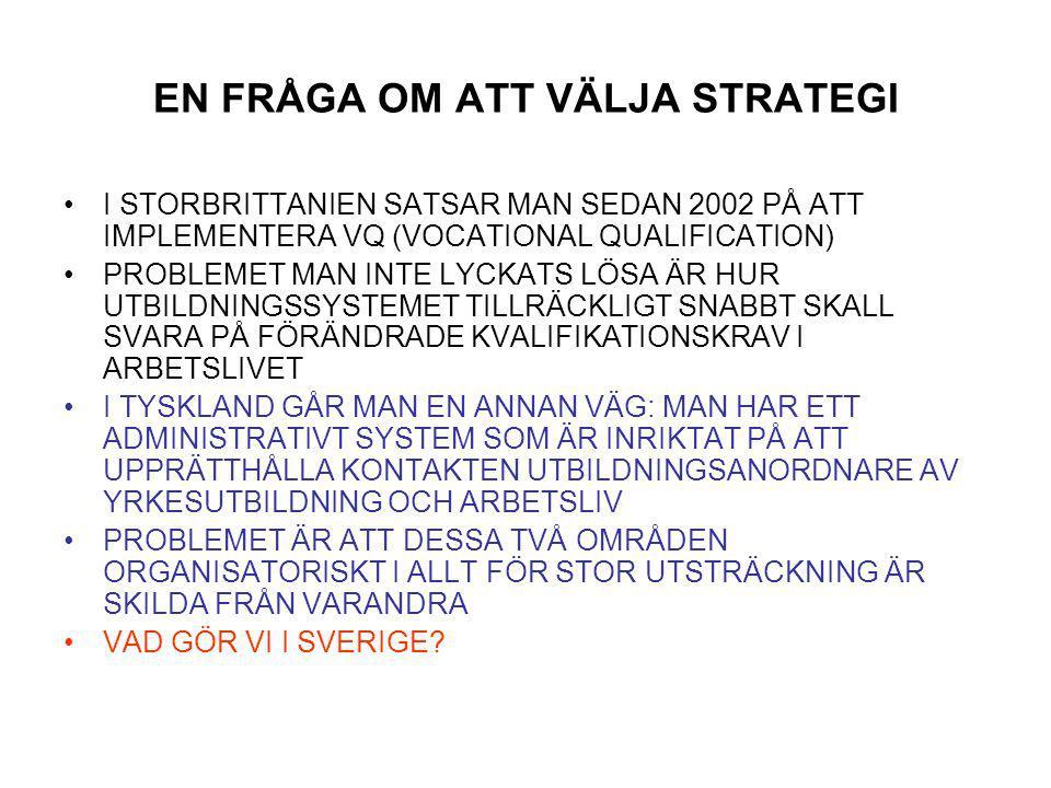 EN FRÅGA OM ATT VÄLJA STRATEGI I STORBRITTANIEN SATSAR MAN SEDAN 2002 PÅ ATT IMPLEMENTERA VQ (VOCATIONAL QUALIFICATION) PROBLEMET MAN INTE LYCKATS LÖSA ÄR HUR UTBILDNINGSSYSTEMET TILLRÄCKLIGT SNABBT SKALL SVARA PÅ FÖRÄNDRADE KVALIFIKATIONSKRAV I ARBETSLIVET I TYSKLAND GÅR MAN EN ANNAN VÄG: MAN HAR ETT ADMINISTRATIVT SYSTEM SOM ÄR INRIKTAT PÅ ATT UPPRÄTTHÅLLA KONTAKTEN UTBILDNINGSANORDNARE AV YRKESUTBILDNING OCH ARBETSLIV PROBLEMET ÄR ATT DESSA TVÅ OMRÅDEN ORGANISATORISKT I ALLT FÖR STOR UTSTRÄCKNING ÄR SKILDA FRÅN VARANDRA VAD GÖR VI I SVERIGE