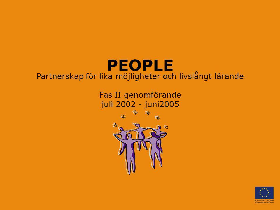 PEOPLE Partnerskap för lika möjligheter och livslångt lärande Fas II genomförande juli 2002 - juni2005