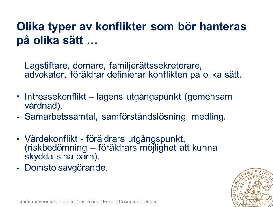 Lunds universitet / Fakultet / Institution / Enhet / Dokument / Datum Olika typer av konflikter som bör hanteras på olika sätt … Lagstiftare, domare,