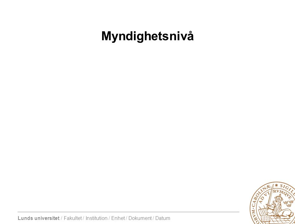 Lunds universitet / Fakultet / Institution / Enhet / Dokument / Datum Myndighetsnivå