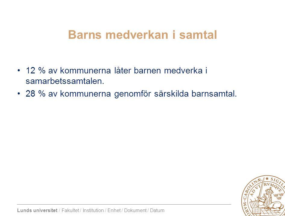 Lunds universitet / Fakultet / Institution / Enhet / Dokument / Datum Barns medverkan i samtal 12 % av kommunerna låter barnen medverka i samarbetssam