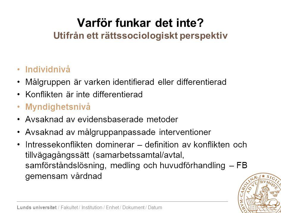 Lunds universitet / Fakultet / Institution / Enhet / Dokument / Datum Varför funkar det inte? Utifrån ett rättssociologiskt perspektiv Individnivå Mål