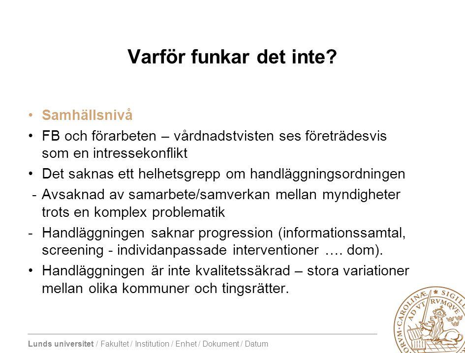 Lunds universitet / Fakultet / Institution / Enhet / Dokument / Datum Varför funkar det inte? Samhällsnivå FB och förarbeten – vårdnadstvisten ses för