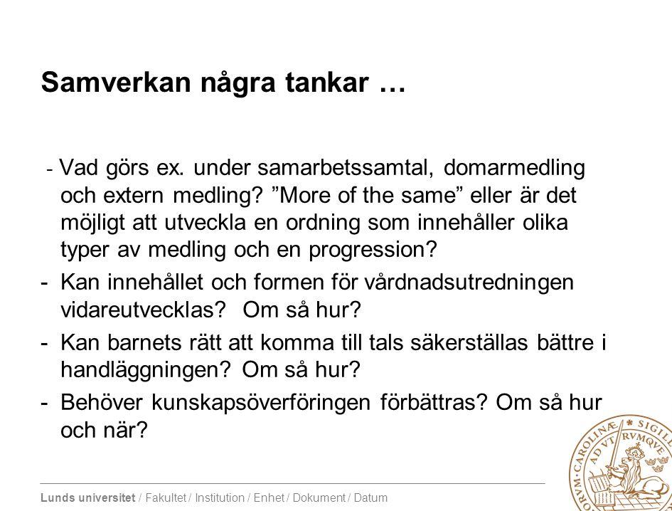 Lunds universitet / Fakultet / Institution / Enhet / Dokument / Datum Samverkan några tankar … - Vad görs ex. under samarbetssamtal, domarmedling och