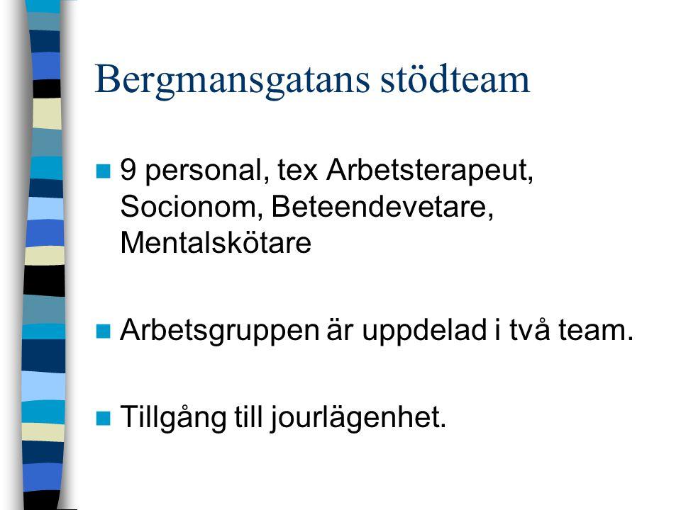 Bergmansgatans stödteam 9 personal, tex Arbetsterapeut, Socionom, Beteendevetare, Mentalskötare Arbetsgruppen är uppdelad i två team.