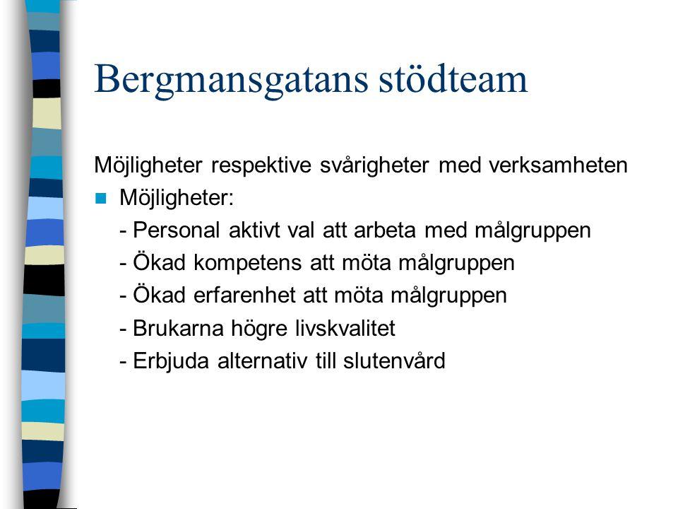 Bergmansgatans stödteam Svårigheter: - Balans mellan stöd och behandling - Kompetens utifrån kommunens uppdrag - Tung målgrupp – många nya brukare -------------------------------------------------------------------------- - Smittoeffekt