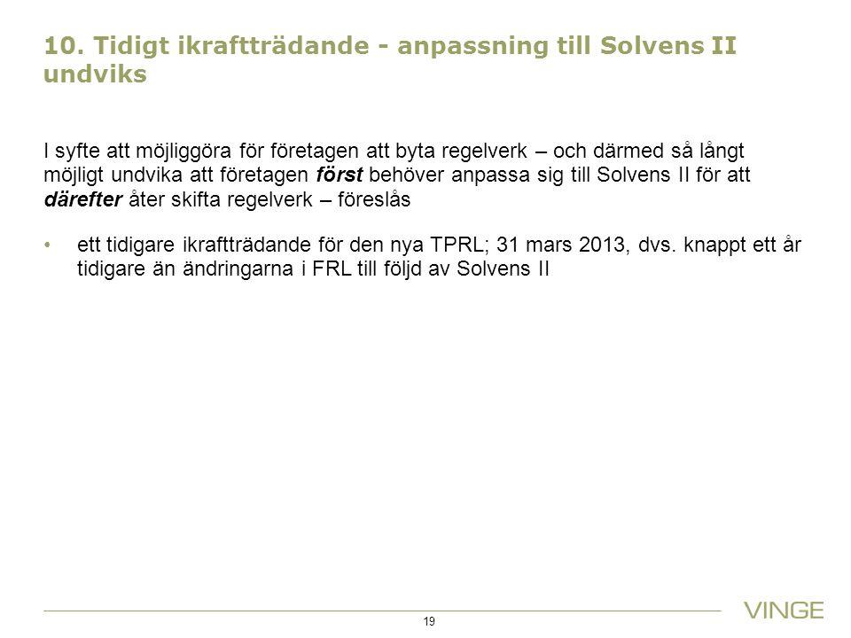 10. Tidigt ikraftträdande - anpassning till Solvens II undviks I syfte att möjliggöra för företagen att byta regelverk – och därmed så långt möjligt u