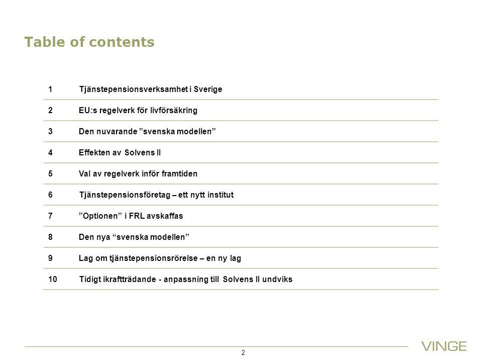 Table of contents 1Tjänstepensionsverksamhet i Sverige 2EU:s regelverk för livförsäkring 3Den nuvarande svenska modellen 4Effekten av Solvens II 5Val av regelverk inför framtiden 6Tjänstepensionsföretag – ett nytt institut 7 Optionen i FRL avskaffas 8Den nya svenska modellen 9Lag om tjänstepensionsrörelse – en ny lag 10Tidigt ikraftträdande - anpassning till Solvens II undviks 2