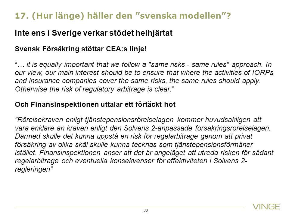 17.(Hur länge) håller den svenska modellen .