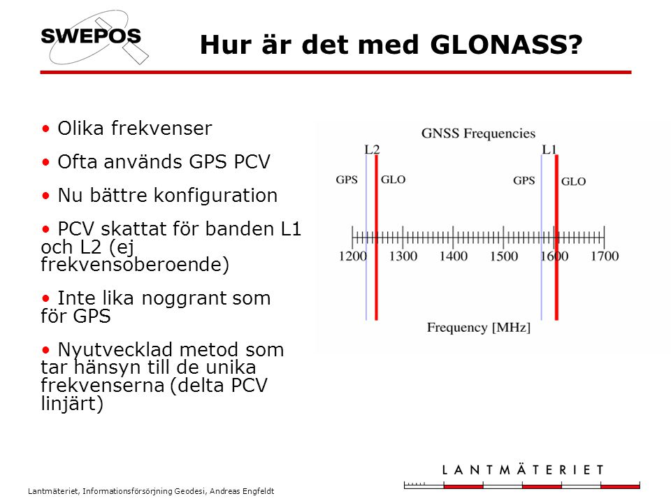 Lantmäteriet, Informationsförsörjning Geodesi, Andreas Engfeldt Hur är det med GLONASS? Olika frekvenser Ofta används GPS PCV Nu bättre konfiguration