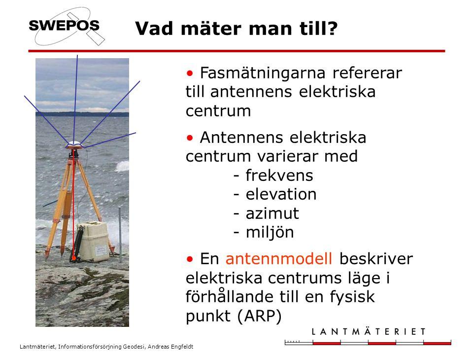 Lantmäteriet, Informationsförsörjning Geodesi, Andreas Engfeldt Vad mäter man till? Fasmätningarna refererar till antennens elektriska centrum Antenne