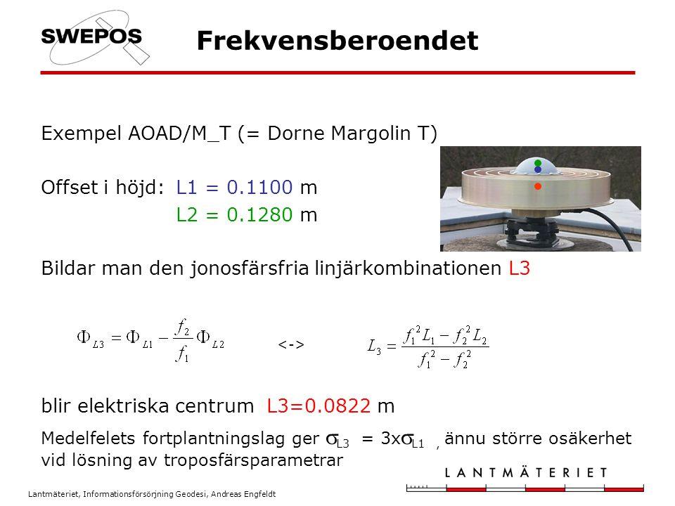 Lantmäteriet, Informationsförsörjning Geodesi, Andreas Engfeldt Antennkalibrering Bestämma en antennmodell som beskriver elektriska centrums läge i förhållande till ARP som en funktion av azimut och elevation för de aktuella frekvenserna L1 och L2.