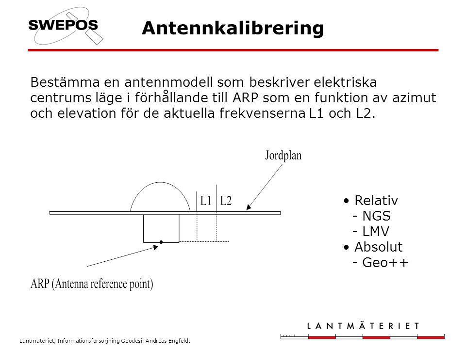 Lantmäteriet, Informationsförsörjning Geodesi, Andreas Engfeldt Antennkalibrering Bestämma en antennmodell som beskriver elektriska centrums läge i fö