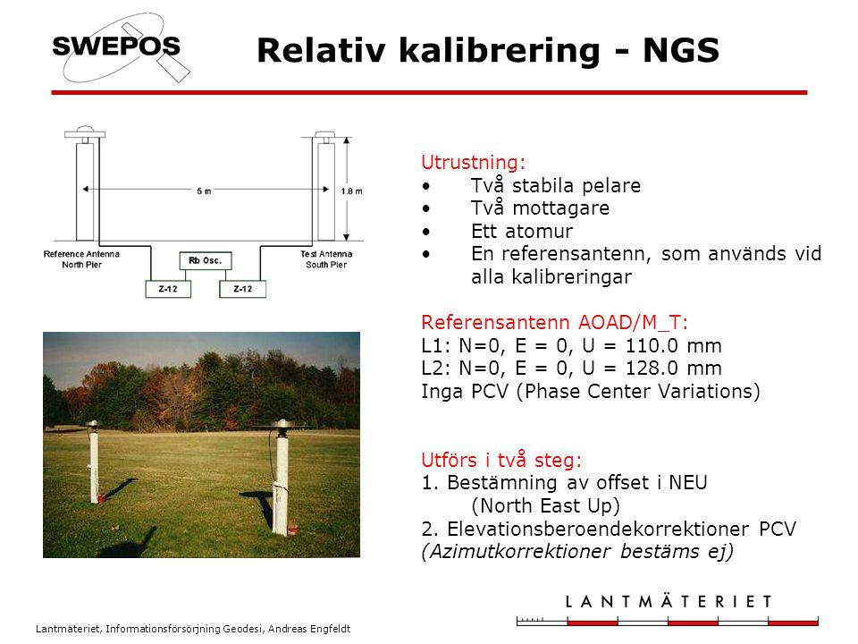Lantmäteriet, Informationsförsörjning Geodesi, Andreas Engfeldt NGS skatting av medeloffset Antenner monteras på pelare och orienteras mot norr 24 timmars observationstid Lägsta använda elevationsvinkel: 15 grader Traditionell baslinjeberäkning baserad på dubbeldifferenser Separat beräkning för L1 och L2 Kort baslinje -> jonosfär och troposfär = 0 Multipath har samma värde på båda stationerna NEU-offset bestäms genom att jämföra de kända koordinaterna på roverstationen med de beräknade