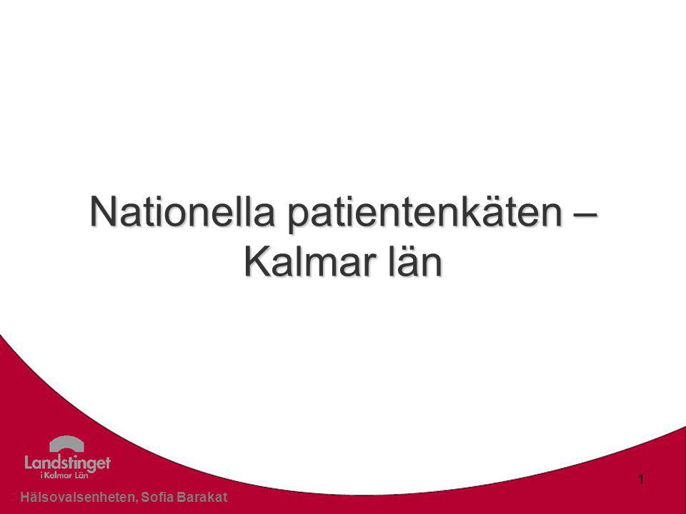 Klicka här för att ändra format Klicka här för att ändra format på bakgrundstexten Nivå två Nivå tre Nivå fyra Nivå fem Hälsovalsenheten, Sofia Barakat 1 Nationella patientenkäten – Kalmar län