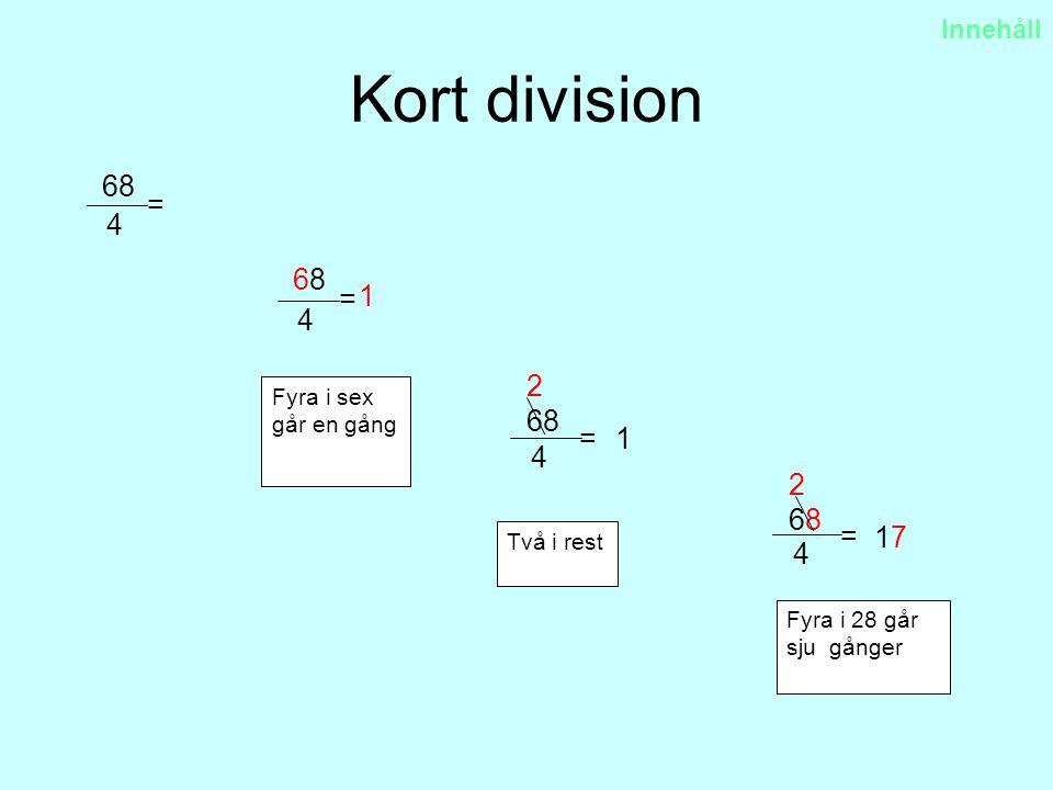 Kort division 68 4 = 1 6868 4 = Fyra i sex går en gång Två i rest Fyra i 28 går sju gånger 6868 4 = 1717 2 68 4 = 2 1 Innehåll