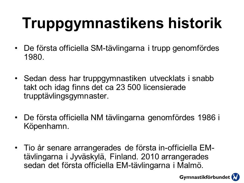 Truppgymnastikens historik De första officiella SM-tävlingarna i trupp genomfördes 1980.