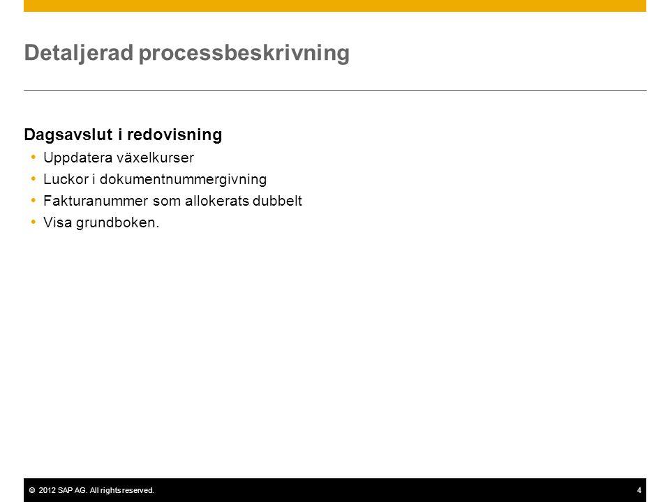 ©2012 SAP AG. All rights reserved.4 Detaljerad processbeskrivning Dagsavslut i redovisning  Uppdatera växelkurser  Luckor i dokumentnummergivning 