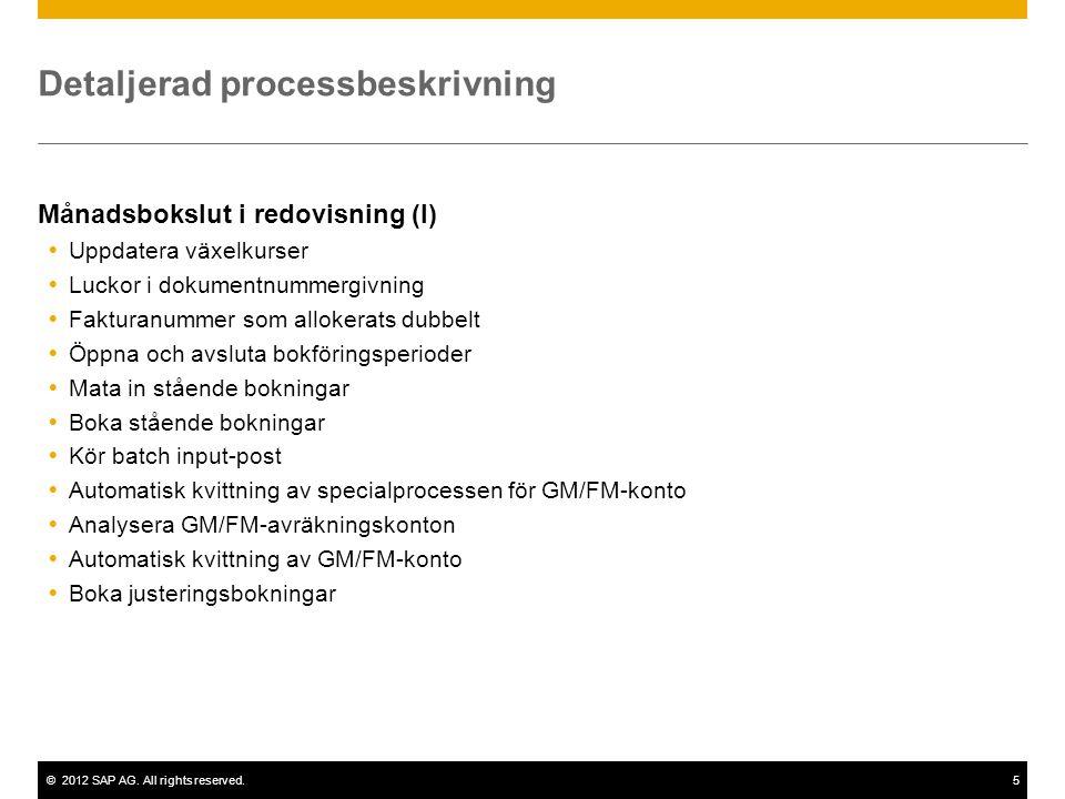 ©2012 SAP AG. All rights reserved.5 Detaljerad processbeskrivning Månadsbokslut i redovisning (I)  Uppdatera växelkurser  Luckor i dokumentnummergiv