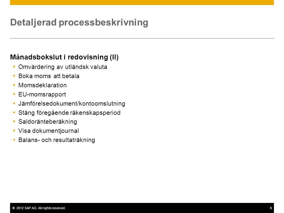 ©2012 SAP AG. All rights reserved.6 Detaljerad processbeskrivning Månadsbokslut i redovisning (II)  Omvärdering av utländsk valuta  Boka moms att be