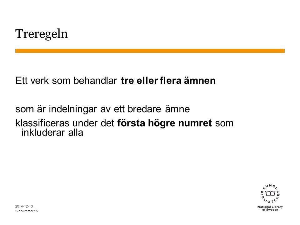 Sidnummer 2014-12-13 15 Treregeln Ett verk som behandlar tre eller flera ämnen som är indelningar av ett bredare ämne klassificeras under det första högre numret som inkluderar alla