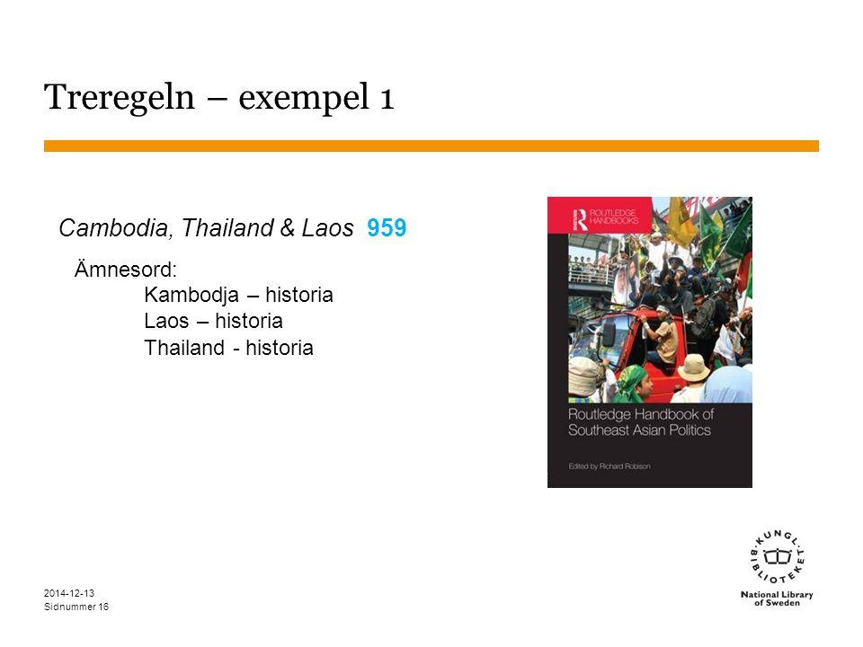 Sidnummer 2014-12-13 16 Treregeln – exempel 1 Cambodia, Thailand & Laos 959 Ämnesord: Kambodja – historia Laos – historia Thailand - historia