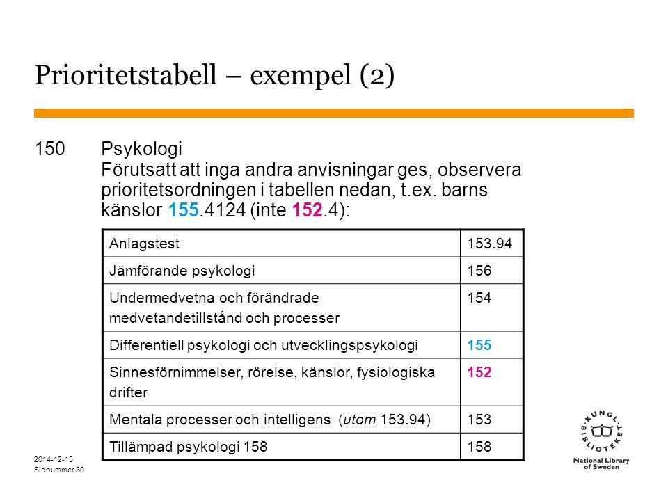 Sidnummer 2014-12-13 30 Prioritetstabell – exempel (2) 150Psykologi Förutsatt att inga andra anvisningar ges, observera prioritetsordningen i tabellen nedan, t.ex.
