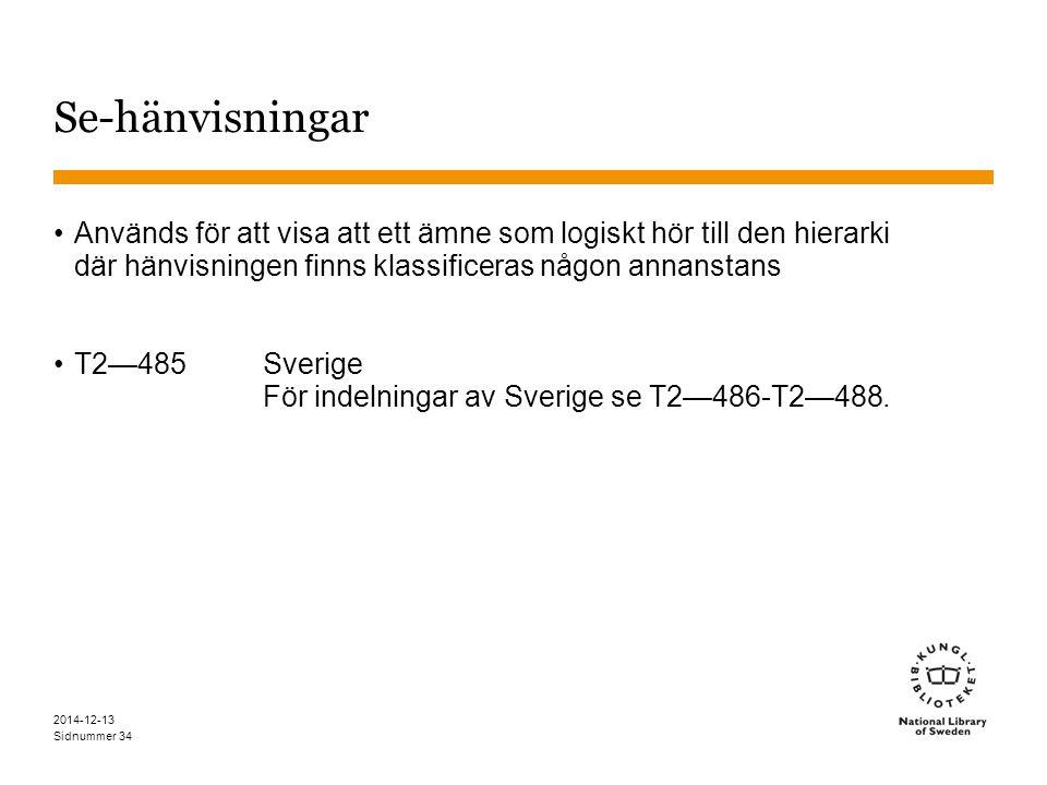 Sidnummer 2014-12-13 34 Se-hänvisningar Används för att visa att ett ämne som logiskt hör till den hierarki där hänvisningen finns klassificeras någon annanstans T2—485Sverige För indelningar av Sverige se T2—486-T2—488.