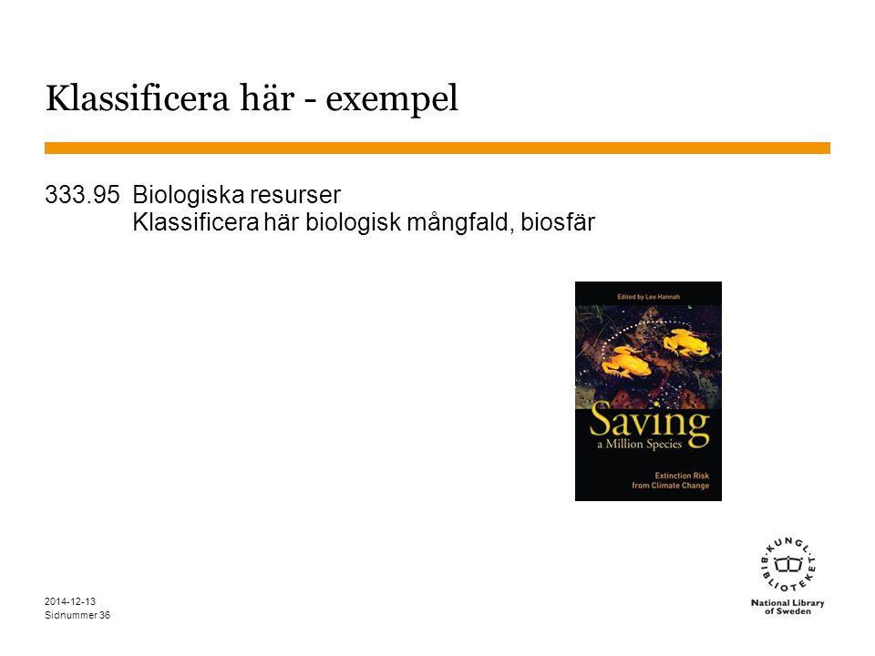 Sidnummer 2014-12-13 36 Klassificera här - exempel 333.95 Biologiska resurser Klassificera här biologisk mångfald, biosfär