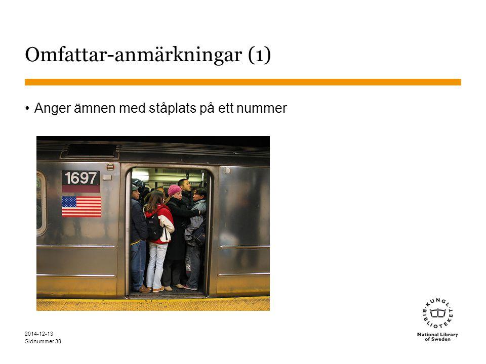 Sidnummer 2014-12-13 38 Omfattar-anmärkningar (1) Anger ämnen med ståplats på ett nummer