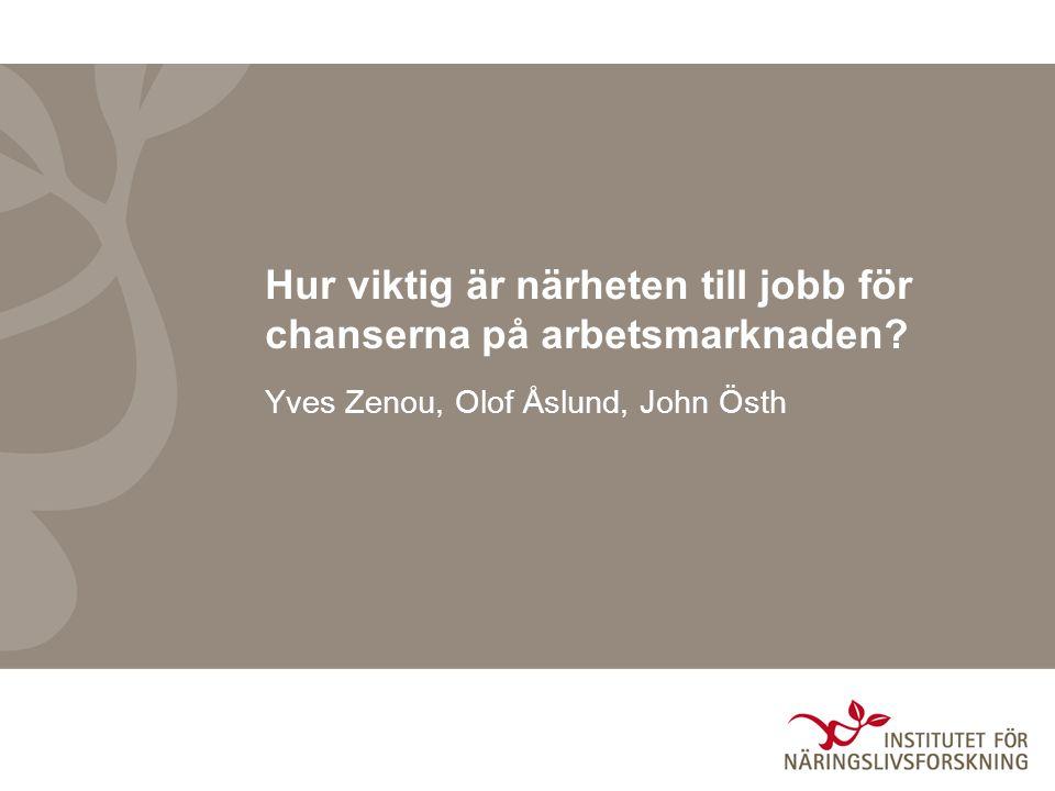 2 Bostadssegregation och arbetsmarknad Sverige och övriga Europa: –Diskriminering –Bristande språkkunskaper –Utestängning från allmänna arbetsmarknaden Policyåtgärder: underlätta för invandrare att komma in på arbetsmarknaden USA: Geografiskt avstånd till jobb försvårar för minoriteter –Spatial mismatch hypotesen SMH (John Kain, 1968) Policyåtgärder: Bryta en negativ boendemiljö