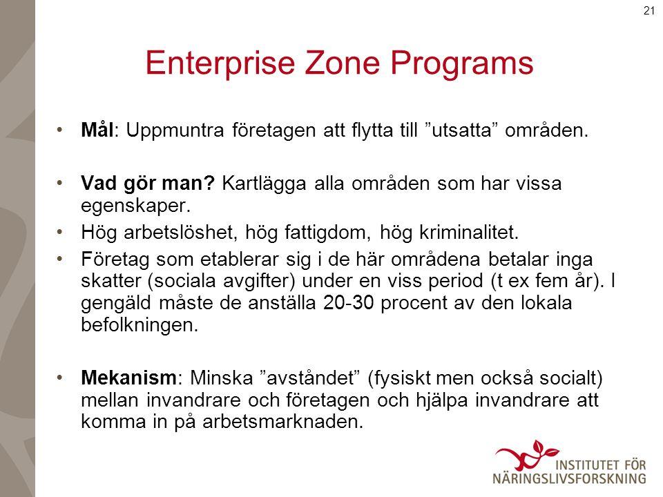 21 Enterprise Zone Programs Mål: Uppmuntra företagen att flytta till utsatta områden.