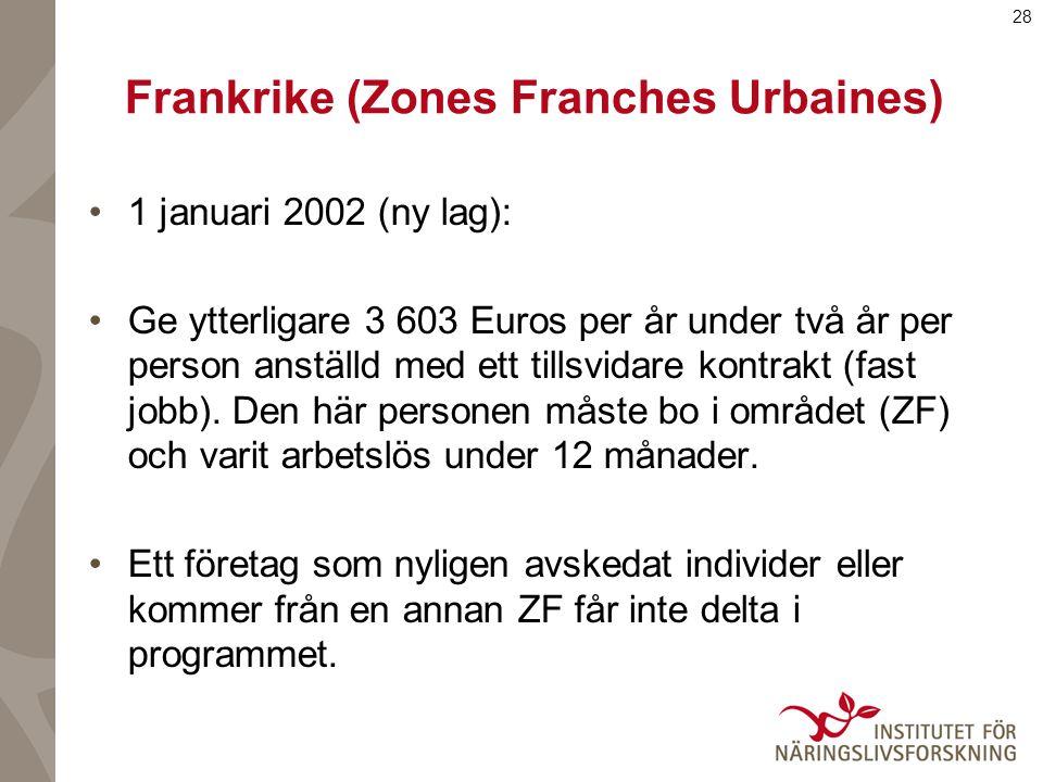 28 Frankrike (Zones Franches Urbaines) 1 januari 2002 (ny lag): Ge ytterligare 3 603 Euros per år under två år per person anställd med ett tillsvidare kontrakt (fast jobb).