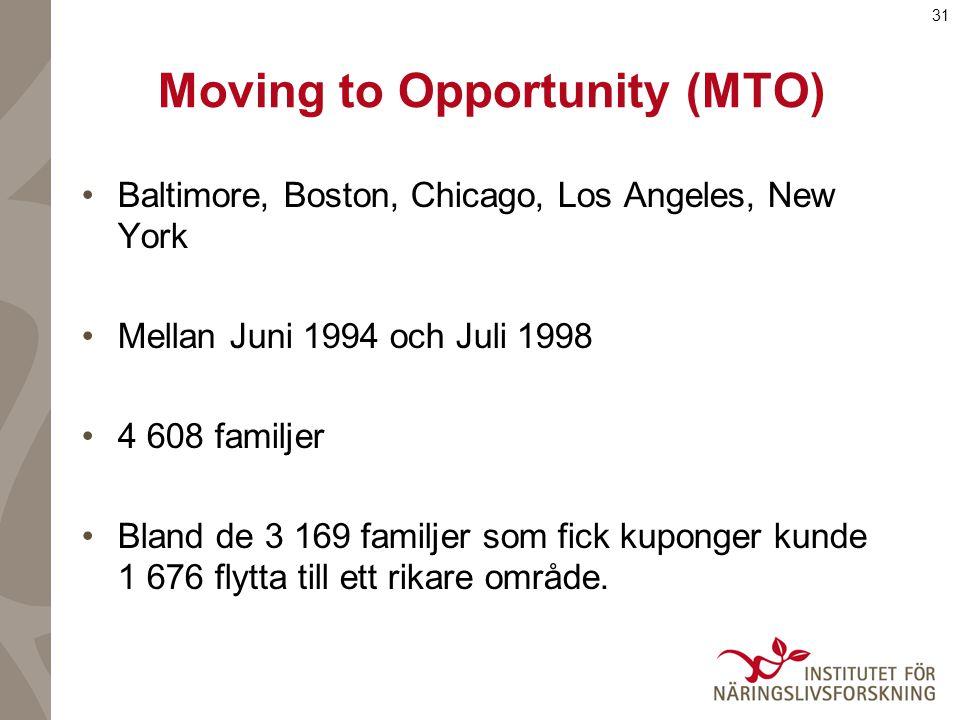 31 Moving to Opportunity (MTO) Baltimore, Boston, Chicago, Los Angeles, New York Mellan Juni 1994 och Juli 1998 4 608 familjer Bland de 3 169 familjer som fick kuponger kunde 1 676 flytta till ett rikare område.