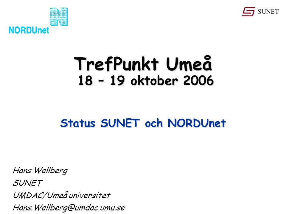 TrefPunkt Umeå 18 – 19 oktober 2006 Hans Wallberg SUNET UMDAC/Umeå universitet Hans.Wallberg@umdac.umu.se Status SUNET och NORDUnet
